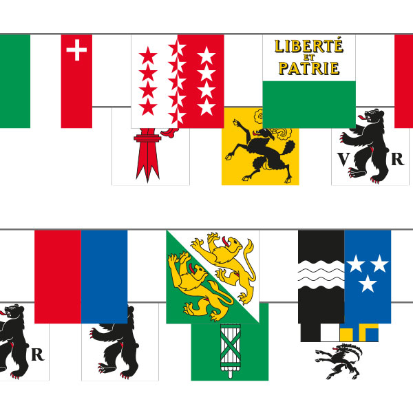 Catene die bandierine cantonali, 26 banderine