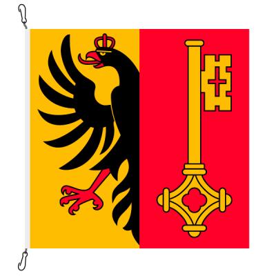 Fahne, Kanton eingesetzt Genf, 120 x 120 cm