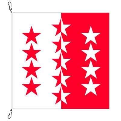 Fahne, Kanton eingesetzt Wallis, 78 x 78 cm