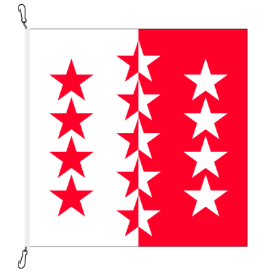 Fahne, Kanton eingesetzt Wallis, 250 x 250 cm