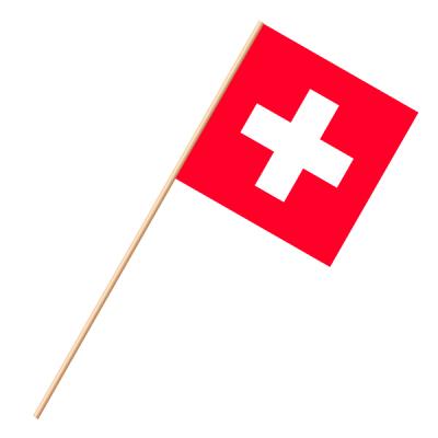 Fahne, an Holzstab 90 cm lang Schweiz, 30 x 30 cm