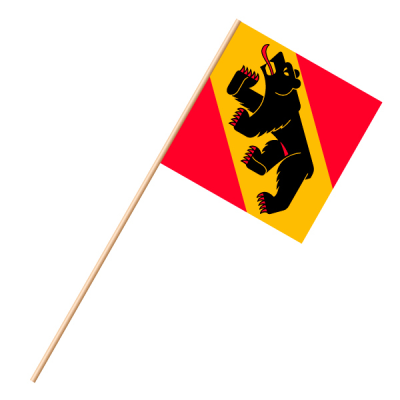 Fahne, an Holzstab 90 cm lang Bern, 30 x 30 cm