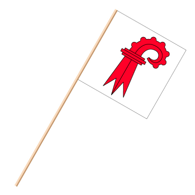 Fahne, an Holzstab 90 cm lang Basel Land, 30 x 30 cm