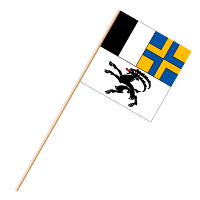 Fahne, an Holzstab 90 cm lang Graubünden, 30 x 30 cm