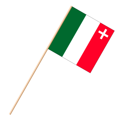 Fahne, an Holzstab 90 cm lang Neuenburg, 30 x 30 cm