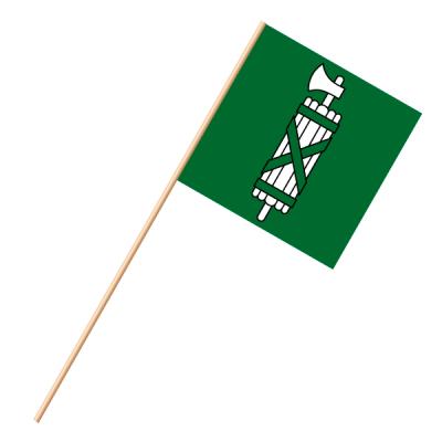 Fahne, an Holzstab 90 cm lang St. Gallen, 30 x 30 cm