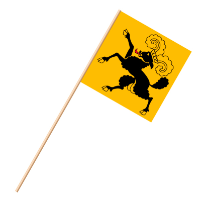 Fahne, an Holzstab 90 cm lang Schaffhausen, 30 x 30 cm