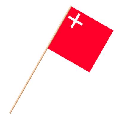 Fahne, an Holzstab 90 cm lang Schwyz, 30 x 30 cm