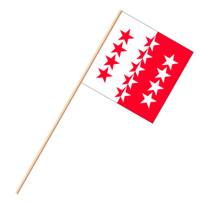 Fahne, an Holzstab 90 cm lang Wallis, 30 x 30 cm