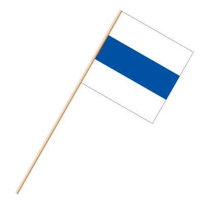 Fahne, an Holzstab 90 cm lang Zug, 30 x 30 cm