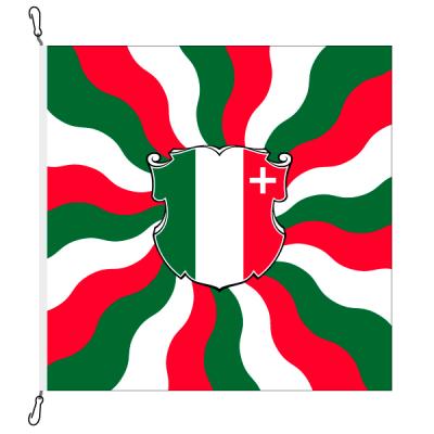 Fahne, geflammt, bedruckt Neuenburg, 78 x 78 cm