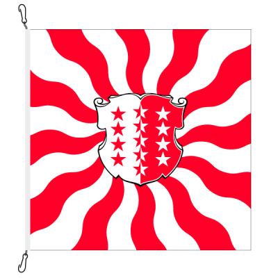 Fahne, geflammt, bedruckt Wallis, 150 x 150 cm