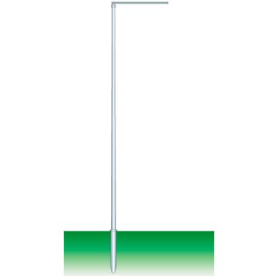 Einteiliger Fahnenmast, durchgehend konisch aus Aluminium eloxiert, 6m lang,  Ø 70/40 mm, mit drehbarem Ausleger 150 cm