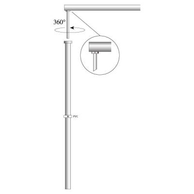 Fahnenstange Aluminium, zylindrisch, OK Coop Ø 30 mm, 350 cm lang, Ausleger drehbar 63 cm