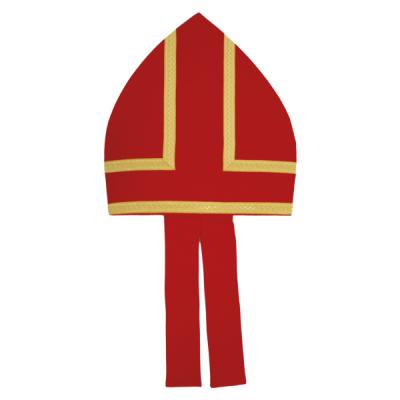 Mitra aus Baumwolle rot, mit Gold-Borten