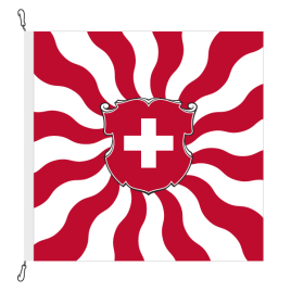 Fahne, geflammt, bedruckt Schweiz, 120 x 120 cm