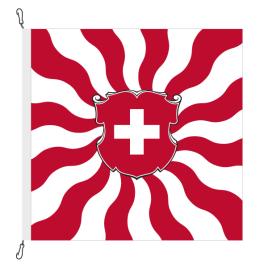 Fahne, geflammt, bedruckt Schweiz, 150 x 150 cm