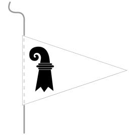 Wimpel, Kanton bedruckt BS, 18 x 27 cm