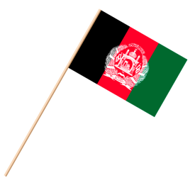 Fahne, an Holzstab 90 cm lang Afghanistan, 25 x 35 cm