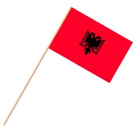 Fahne, an Holzstab 90 cm lang Albanien, 25 x 35 cm