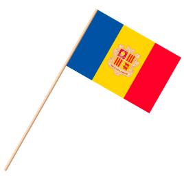 Fahne, an Holzstab 90 cm lang Andorra, 25 x 35 cm
