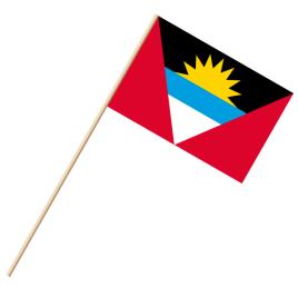 Fahne, an Holzstab 90 cm lang Antigua und Barbuda, 25 x 35 cm