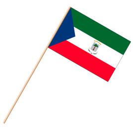 Fahne, an Holzstab 90 cm lang Äquatorialguinea, 25 x 35 cm