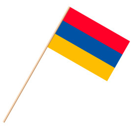Fahne, an Holzstab 90 cm lang Armenien, 25 x 35 cm