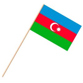 Fahne, an Holzstab 90 cm lang Aserbaidschan, 25 x 35 cm