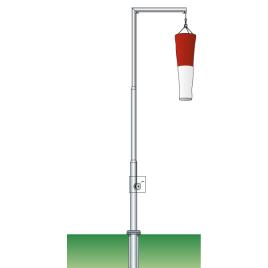 Windsackmast, 9 m Hissvorrichtung mit Kurbel, Ø 90/51 mm