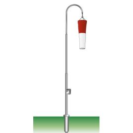 Windsackmast, 8 m, gebogen Hissvorrichtung mit Kurbel, Ø 76/51 mm