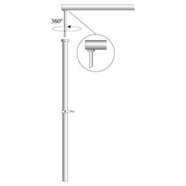 Fahnenstange Aluminium, zylindrisch, OK Coop Ø 30 mm, 300 cm lang, Ausleger drehbar 83 cm