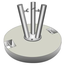 Betonsockel für Fahnenstangen grau 40 kg für 3 Stangen Ø 28-35 mm
