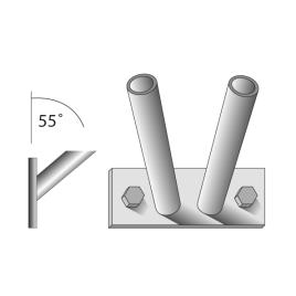 Fahnenstangenhalter, 2-fach, für 2 Stangen Ø 15 mm