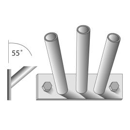 Fahnenstangenhalter, 3-fach, für 3 Stangen Ø 15 mm