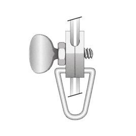 Fahnenhalter für geschlossenes Chromstahlseil, UNTEN