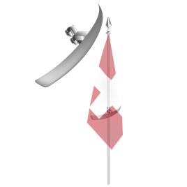 Distanziale ad arco, per una presentazione semplice della bandiera