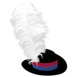 Cappello per portabandiera, in feltro nero, grandezza 56