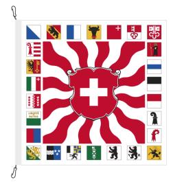 Fahne, geflammt, bedruckt CH + 26 Kantone, 120 x 120 cm