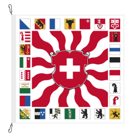 Fahne, geflammt, bedruckt CH + 26 Kantone, 200 x 200 cm