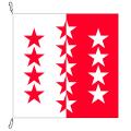 Fahne, Kanton eingesetzt Wallis, 120 x 120 cm